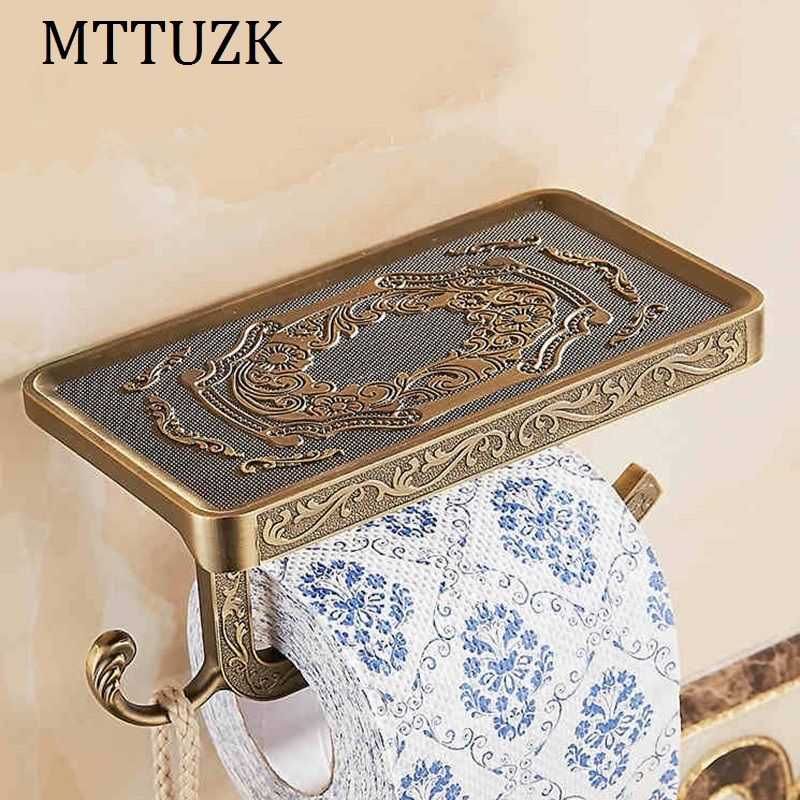 MTTUZK European Style Antique Carving Toilet Roll Paper Rack wiht Phone Shelf Wall Mounted Bathroom Paper Holder With hook