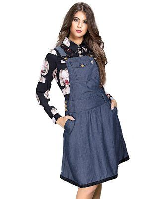 3879-Jardineira jeans- Row-an
