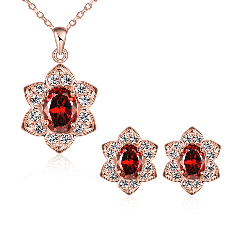 AKS043 Fashion Rose Gold Color Red Glass Zircon Crystal Flower