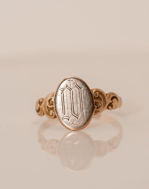 Victorian 10k Gold Signet Ring Monogram M Gold Signet Ring Signet Ring Monogram Ring