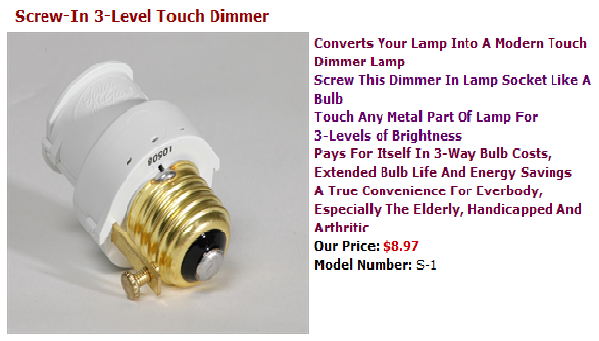 Screw In 3 Level Touch Dimmer Http Www Touchandglow Com Our Products S 24 Htm Lamp Socket Save Energy Dimmer