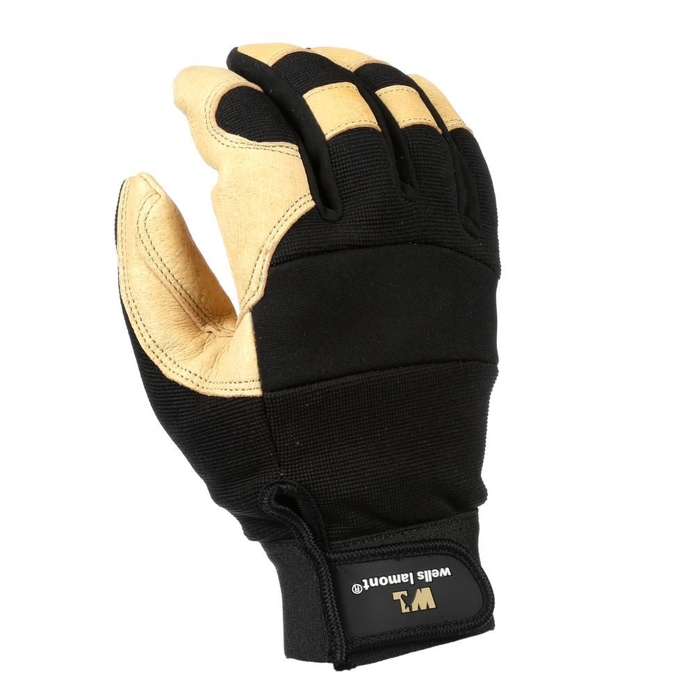 Mens ultra comfort leather work gloves with comfort