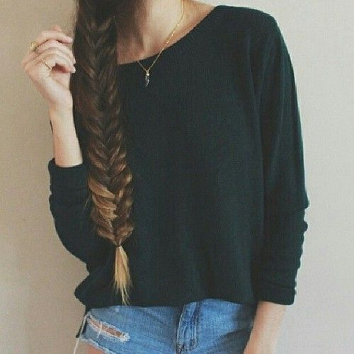 Black Polyvore Blonde Casual Fabulous Fashion Fishtail Braid Long Hair Style Ripped Jeans Hair Styles Long Hair Styles Hair