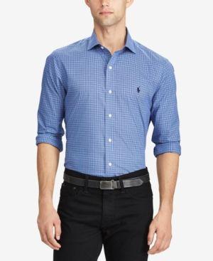 a9bd3e92e Polo Ralph Lauren Men's Standard-Fit Plaid Poplin Shirt - Jewel/Blue Multi  XXL