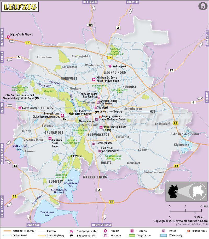 Leipzig City Map Germany Germany Maps Pinterest City maps