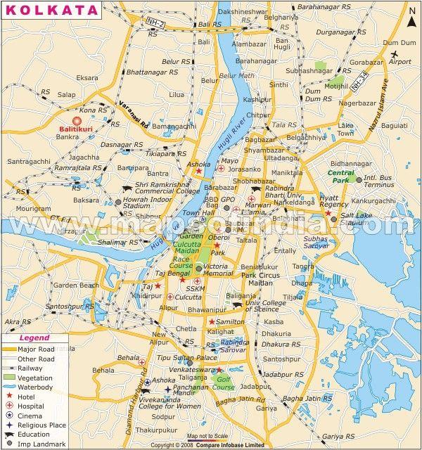 cool Map of Kolkata Tourist Travelquaz Pinterest