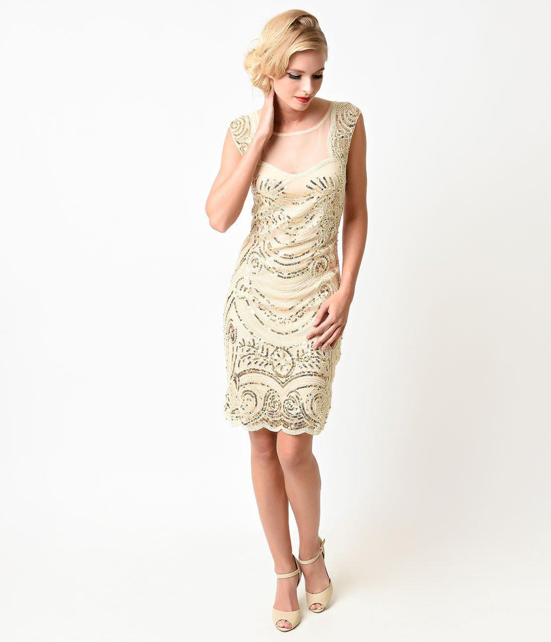 S style cream u gold beaded deco illusion short flapper dress