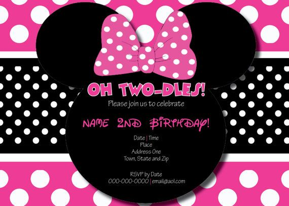 Oh Two-Dles Minnie Mouse Birthday Invitation by ScribblesAndScript