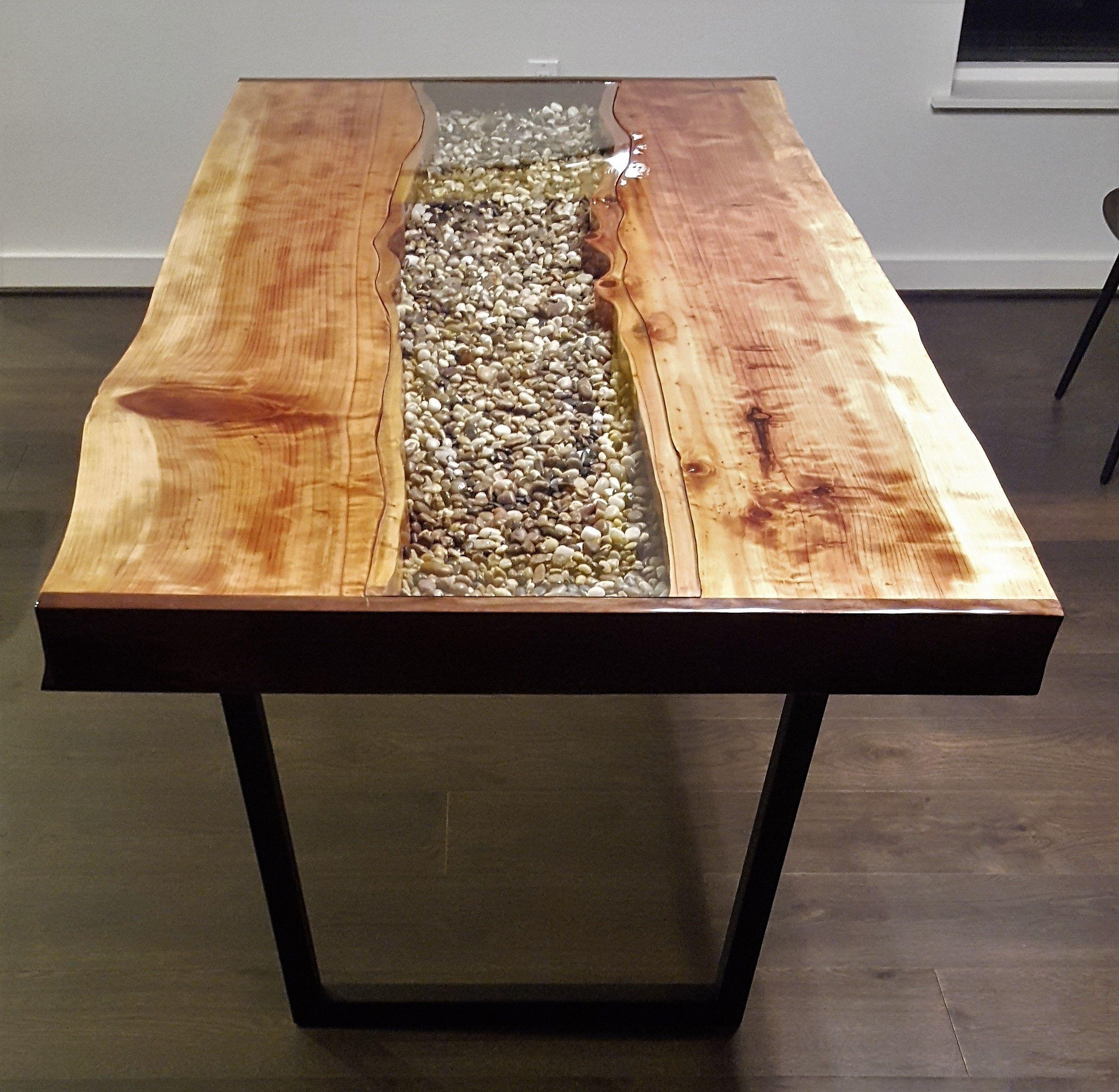 Custom made live edge redwood river table resin table