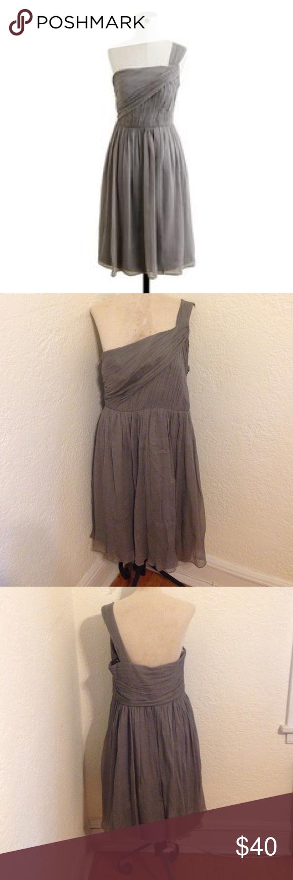 Promhpj crew grey silk chiffon formal dress formal silk