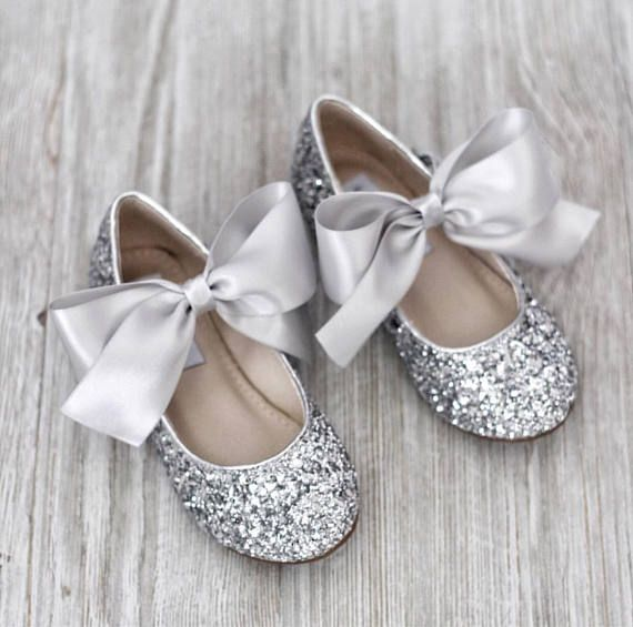 5f87712211f4 Girls Glitter Shoes - SILVER ROCK glitter mary-jane with SATIN ribbon bow -  Flower Girl Shoes
