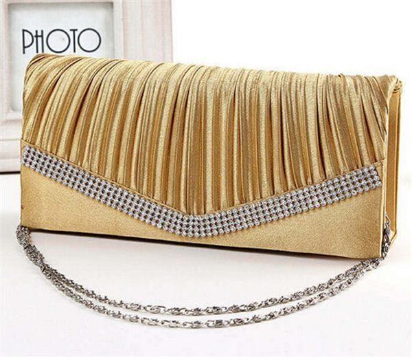 Satin Rhinestone Evening Clutch Chain Handbags Bridal Wedding Party B
