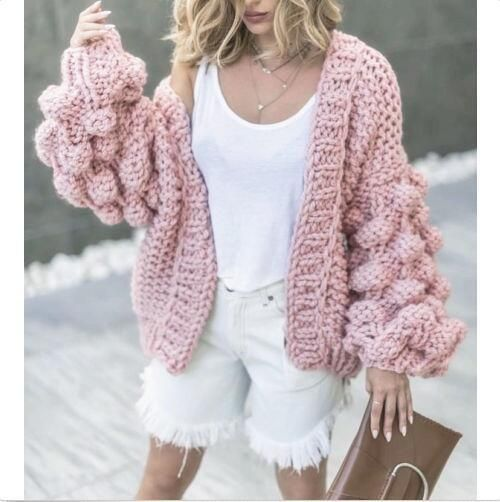 1b08891883 Womens Handmade Ball Puff Sleeve Sweaters Cardigans Jackets Coats Loose  Thicken