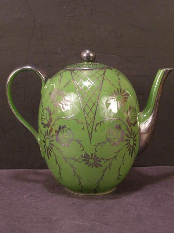 Antique Art Nouveau Porcelain Sterling Silver Overlay Chocolate Coffee Tea Pot Teapot #teapotset