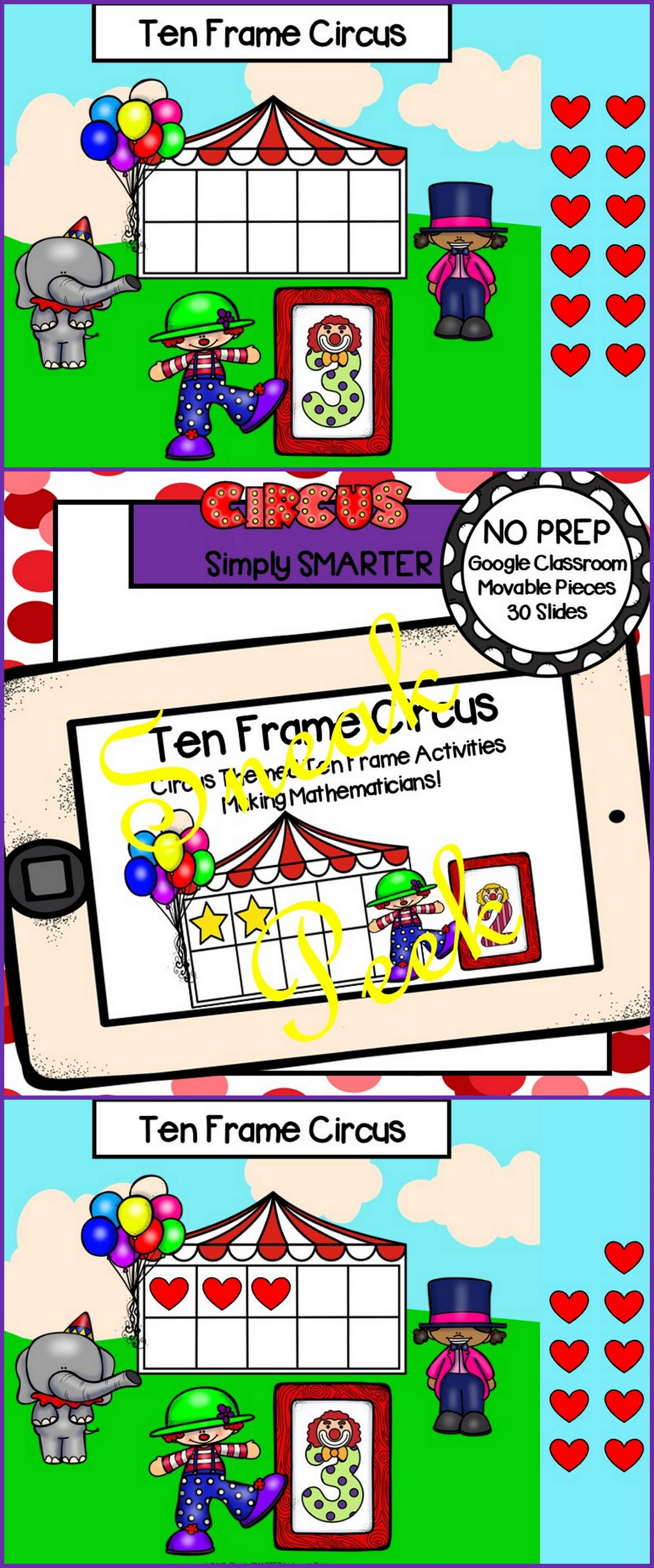 Circus Themed Ten Frame Activities For Classroom