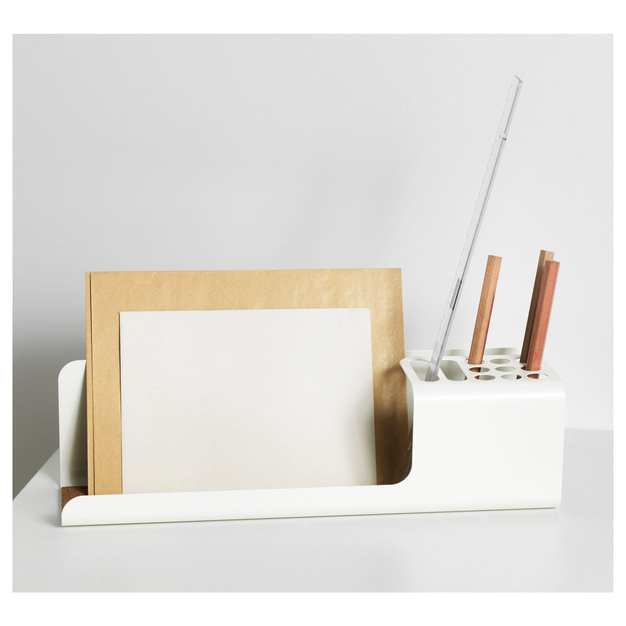 IKEA KVISSLE Desk organizer, white powder-coated steel and cork, 101.980.29