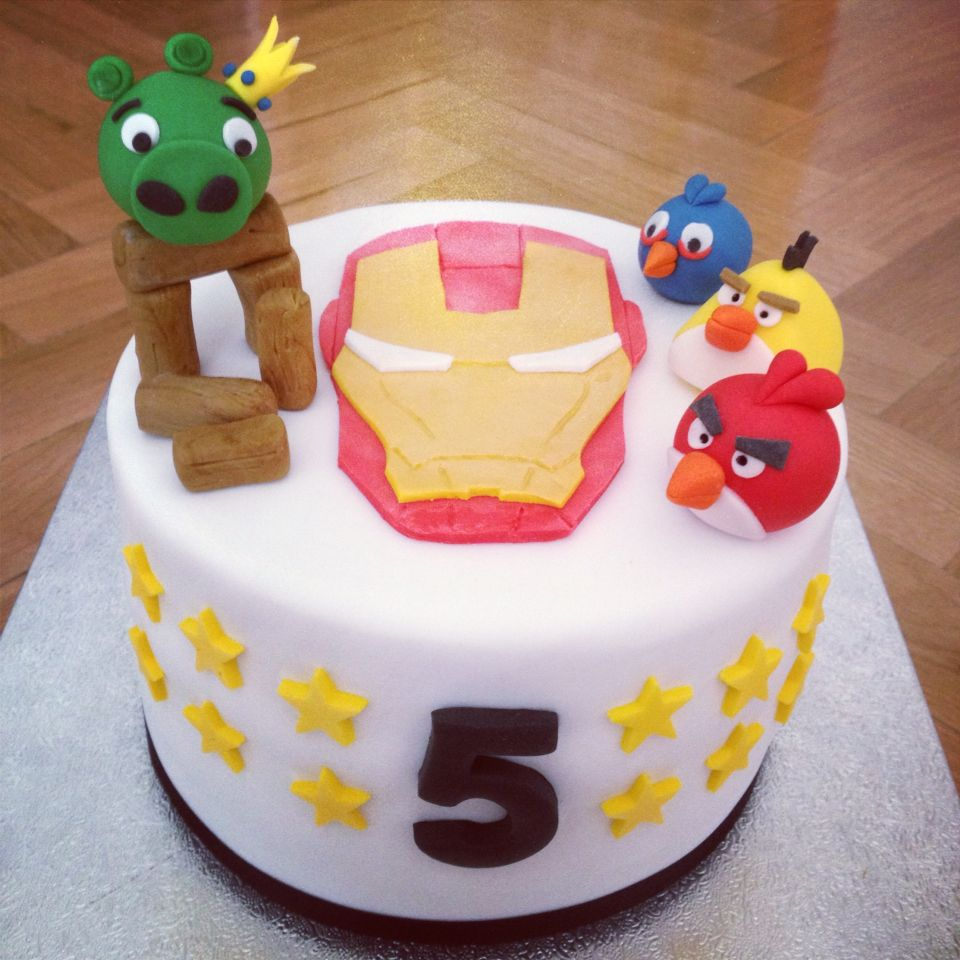 Tarta superhéroes y angry birds