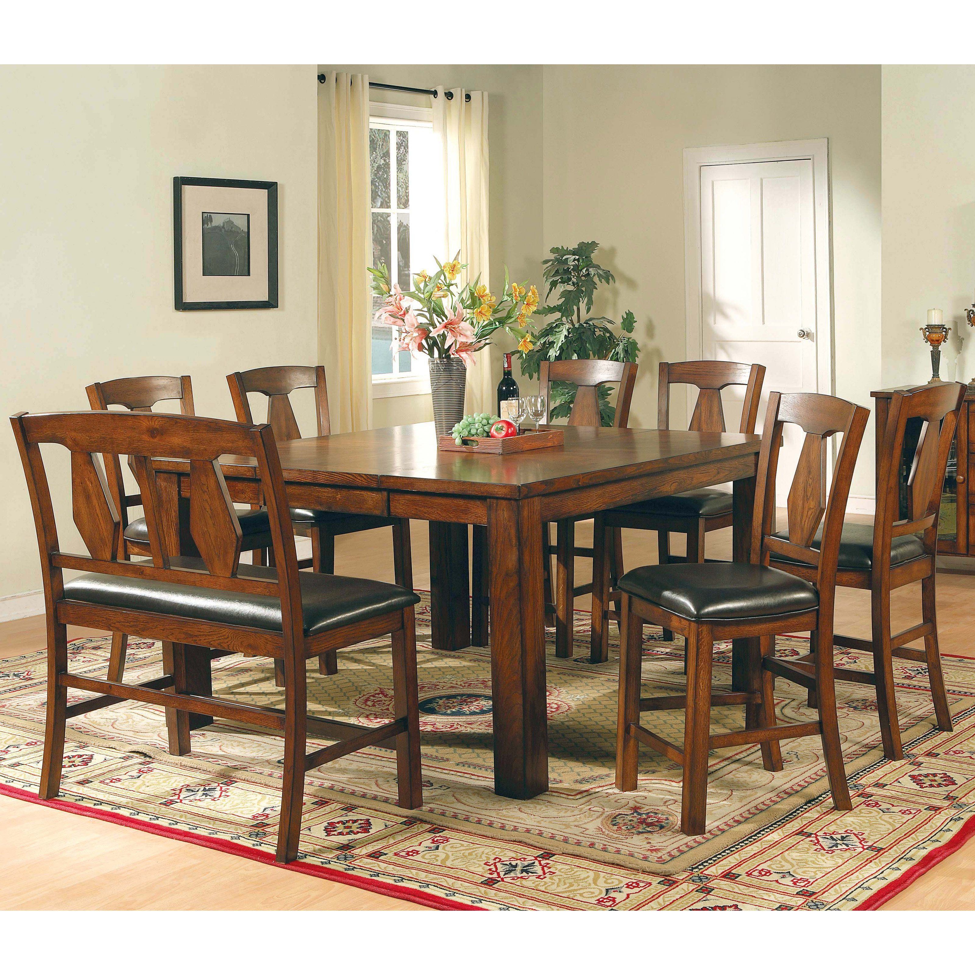 Steve Silver Lakewood 8 Piece Counter Height Set With Bench