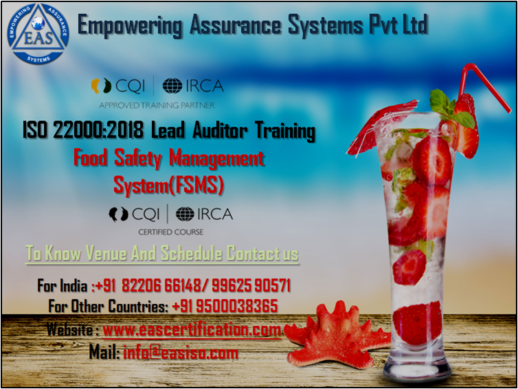 ISO 22000:2018 Lead Auditor Training To Get IRCA Certified