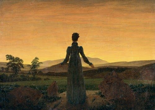 Caspar David Friedrich ' Donna al tramonto del sole ', 1818
