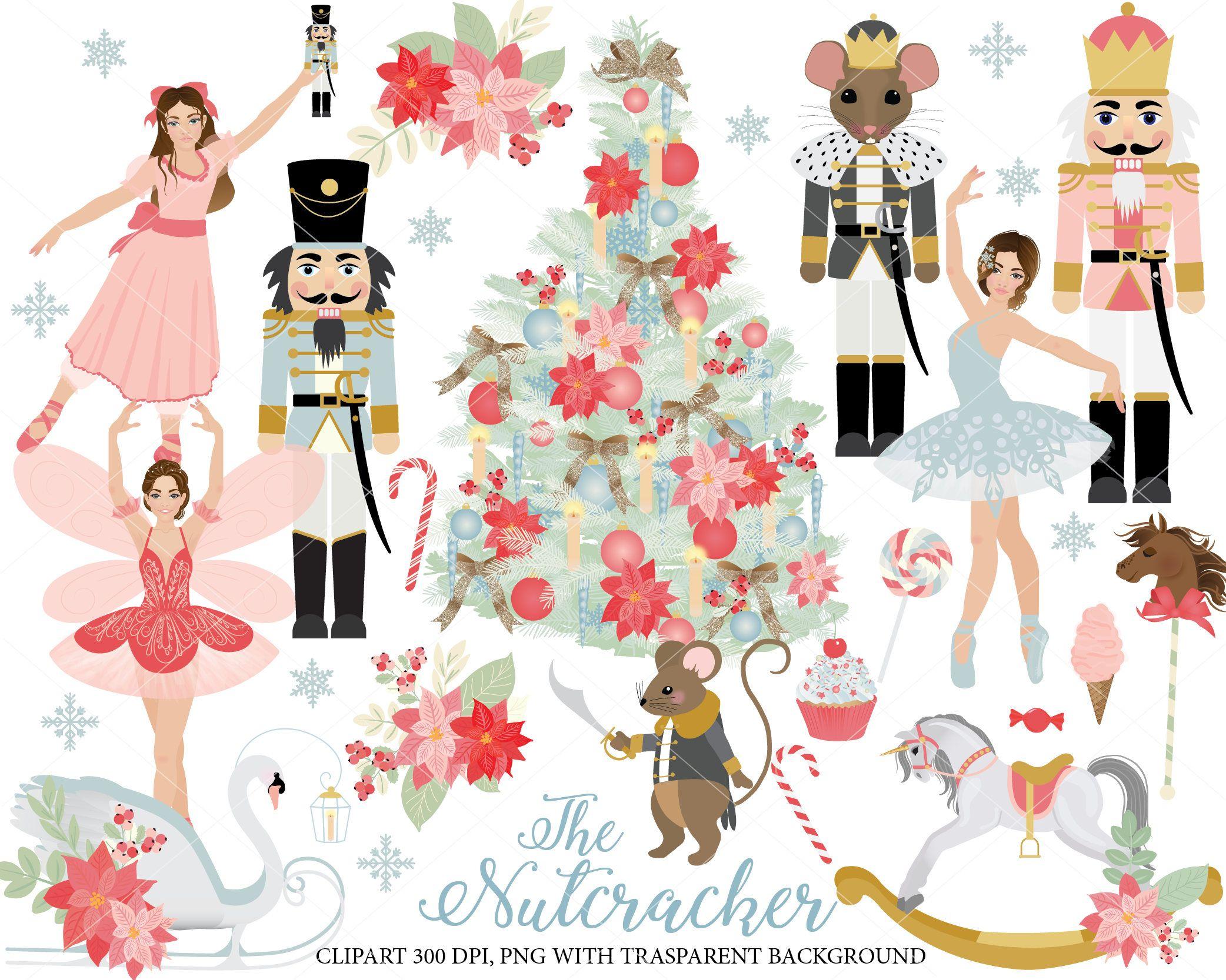 Nutcracker Ballet Clipart set, ballerinas, sugarplum fairy ...