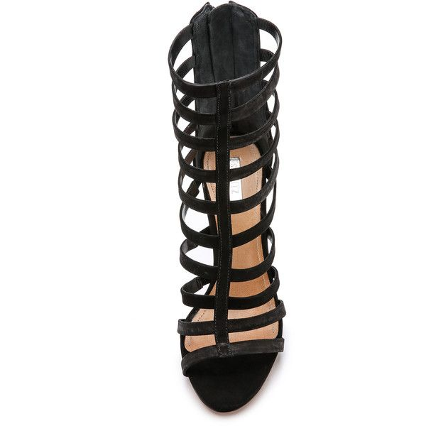 Schutz Davinya Cage Sandals ($72) ❤ liked on Polyvore featuring shoes, sandals, zipper sandals, schutz shoes, schutz, schutz footwear and caged shoes