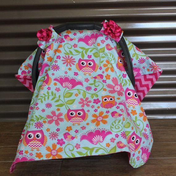 Car Seat Cover - Spring Pink Owl Car Seat Canopy & Car Seat Cover - Spring Pink Owl Car Seat Canopy | Pink Cars and Owl