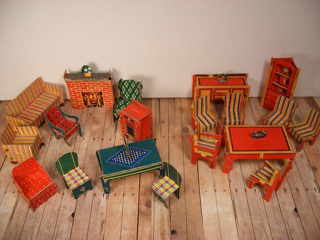 Cardboard Built Rite Dollhouse Furniture Assortment   Warren Paper Products    1930u0027s