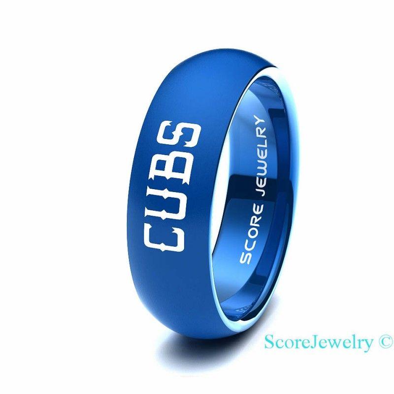 Wedding Gifts Chicago: Blue Tungsten Band Ring Mens Womens Ring MLB Baseball