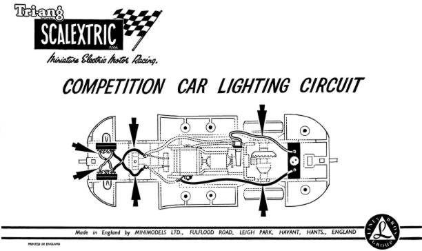 Vintage Scalextric spares diagram of lighting circuit