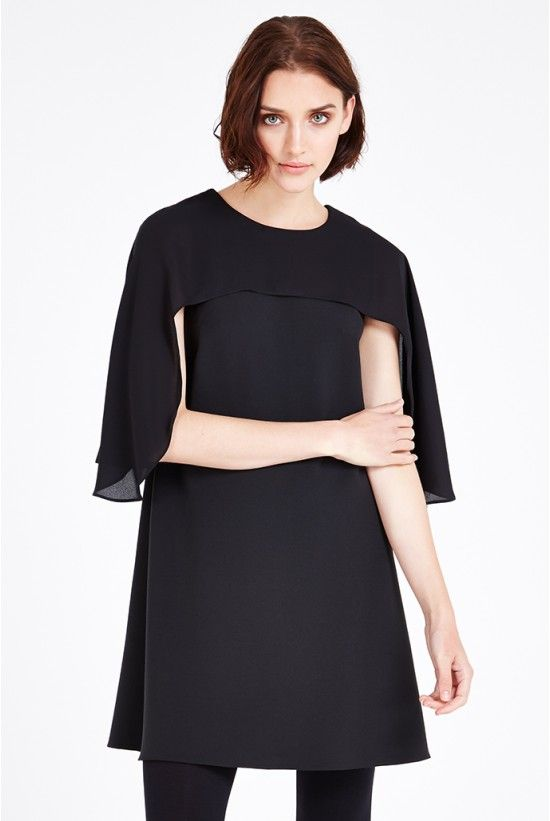 Louche Poetry Cape-Overlay Dress