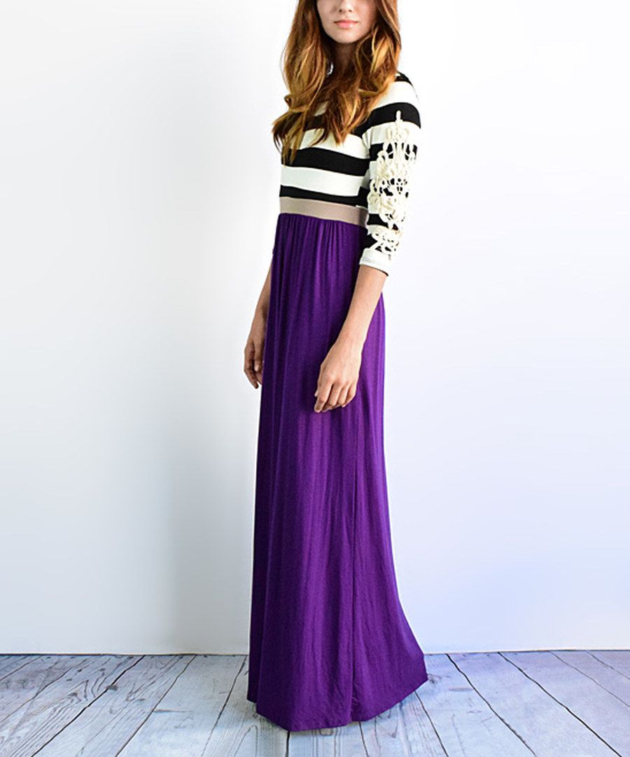 Look at this eggplant stripe crochet maxi dress on zulily today