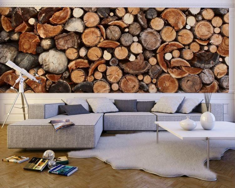 Modernes Wohnzimmer Mit Holzstämme Fototapete Als Wandeko ... Fototapete Wohnzimmer Braun