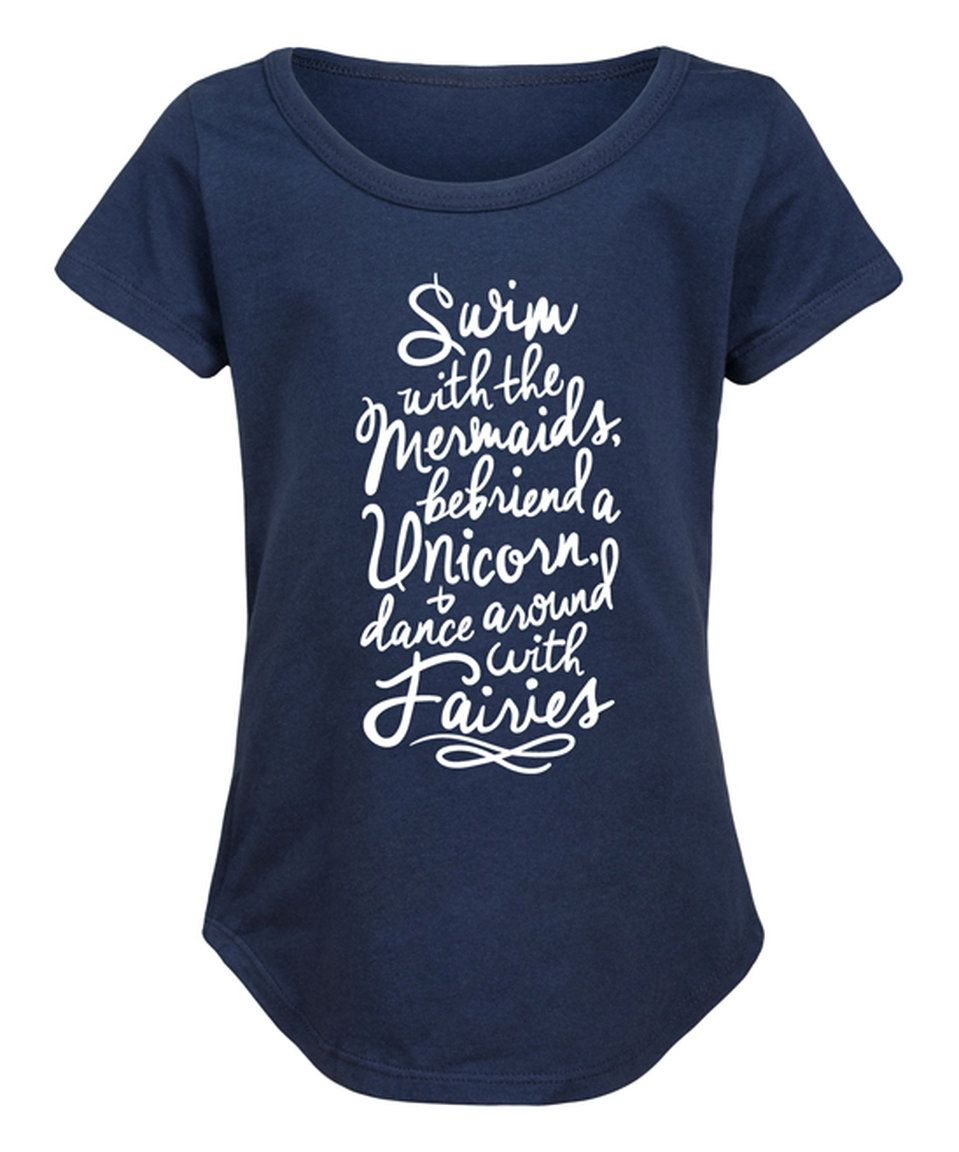 Take a look at this Navy 'Mermaids Unicorns & Fairies' Curved-Hem Tee - Girls today!