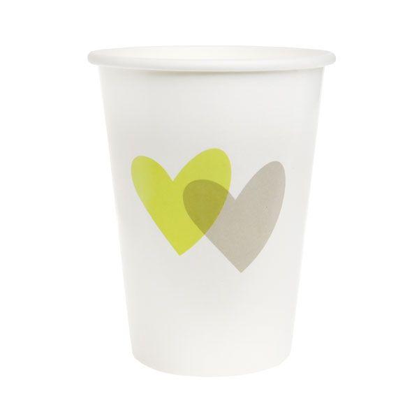 """Partybecher """"Love Love"""", grün, 10 St. - romantischer Partybecher"""
