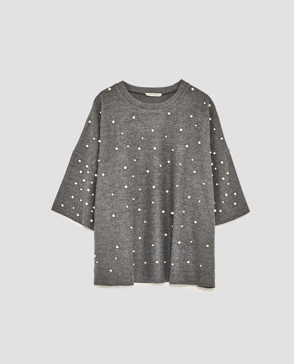 39a9b9eaa Zara Soft Touch Sweater with Faux Pearl   clothes en 2019   Perlas ...