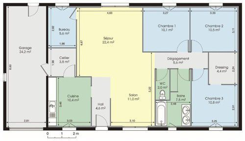 Plan De Maison Moderne Plain Pied  Chambres  Recherche Google