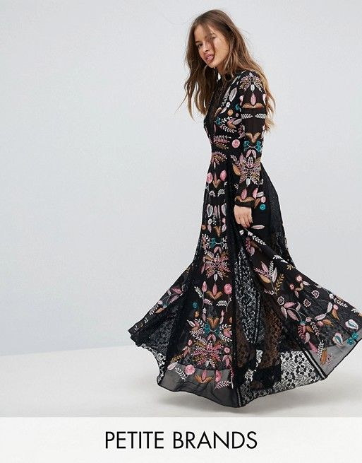 Embroidered Maxi Dress - Black Asos Petite Manchester Cheap Price Footaction Outlet Online ecObLAIQ7