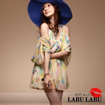 CliPick 的LABU LABU 的甜美味蕾‧渲染撞色洞洞露肩垂袖洋裝