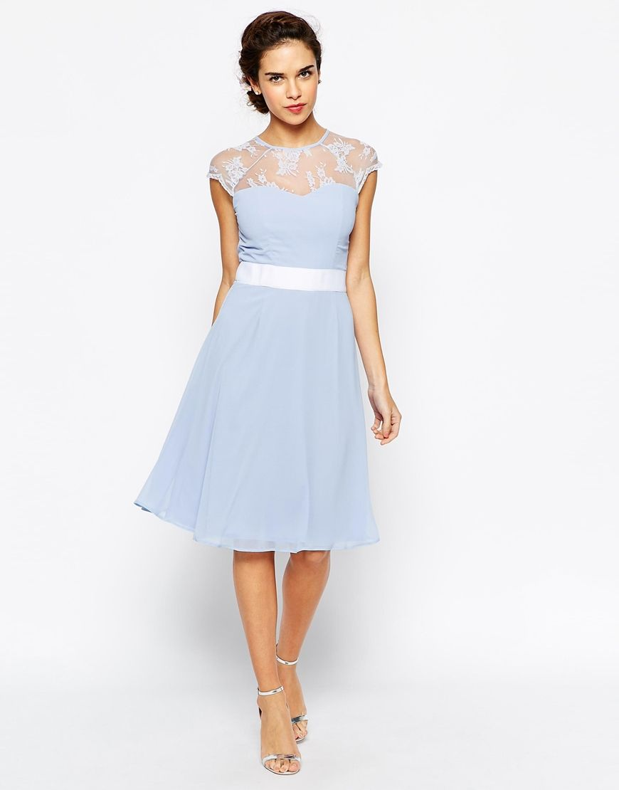 Elise ryan midi prom dress with sweetheart lace top my style