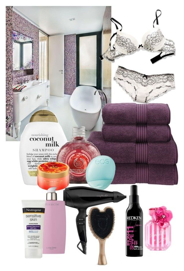 """Shower at night"" by medicicapetiens ❤ liked on Polyvore featuring Christy, Organix, Eos, Redken, Lancôme and Victoria's Secret"
