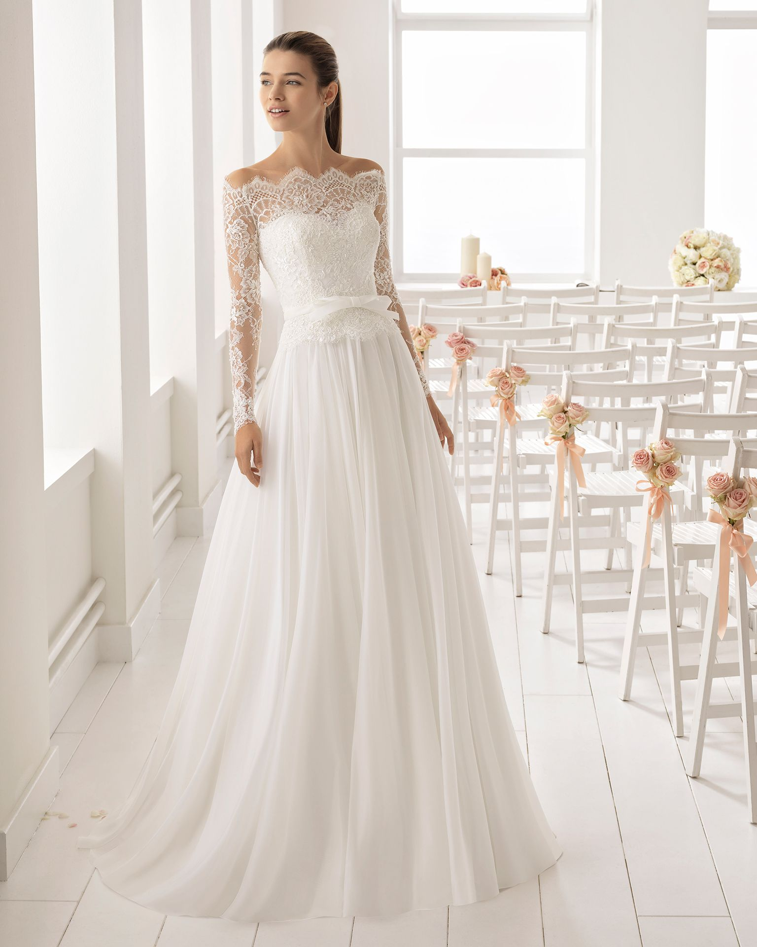 Romantic-style beaded lace and voile wedding dress with long sleeves and  off-the-shoulder neckline. 2018 Aire Barcelona Collection. d4fc5b86ef97