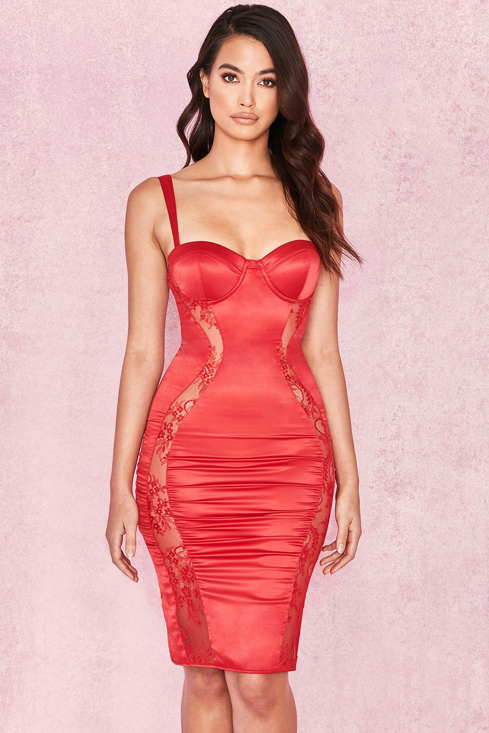 f982202e0a46 Clothing : Bodycon Dresses : 'Micah' Red Satin and Mesh Bustier Dress