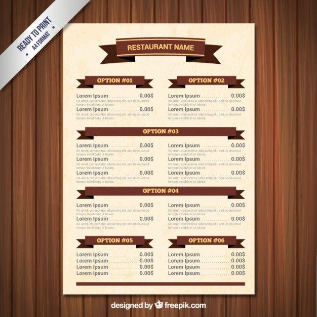 Menu Template With Ribbons Menu Template Restaurant Menu Template Menu Design Template