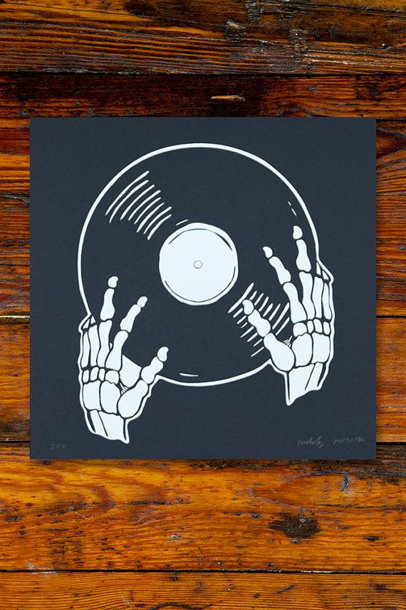 Vinyl Is Not Dead / Screenprinted Art Print by AlisonRose on Etsy
