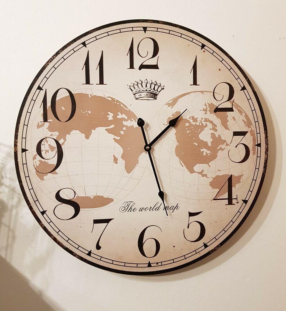 Xxl Wanduhr Old Town Clock Shabby Antik 59cm Vintage Landhaus Uhr Gross Weltkarte Ebay Uhrideen Wanduhr Weltkarte Antik