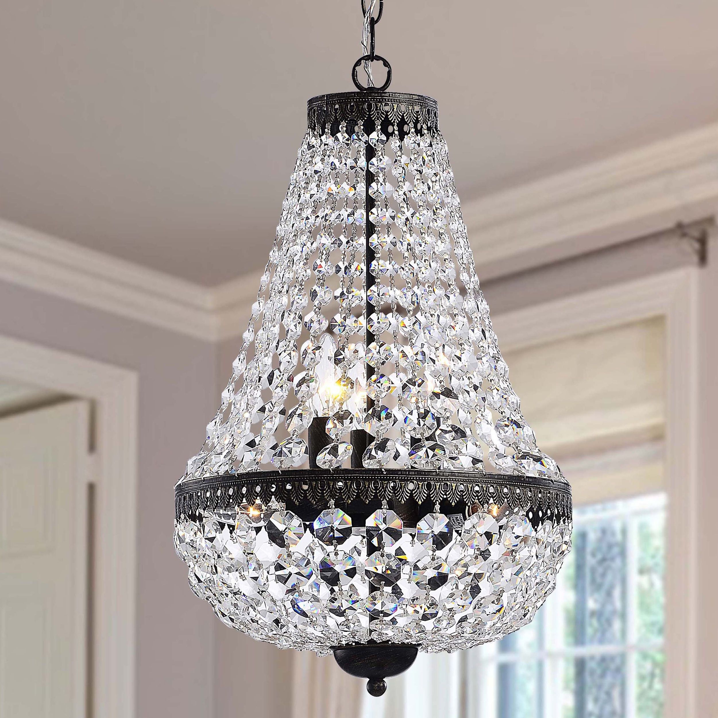 This Symmetric Antique Crystal Chandelier Features An
