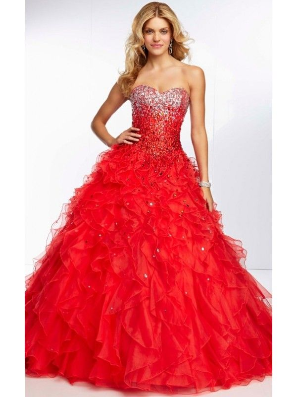 1220eff3ef8f RED BALL GOWN SLEEVELESS LACE-UP BEADED SWEETHEART FLOOR LENGTH ORGANZA  PROM DRESS WITH SEQUIN