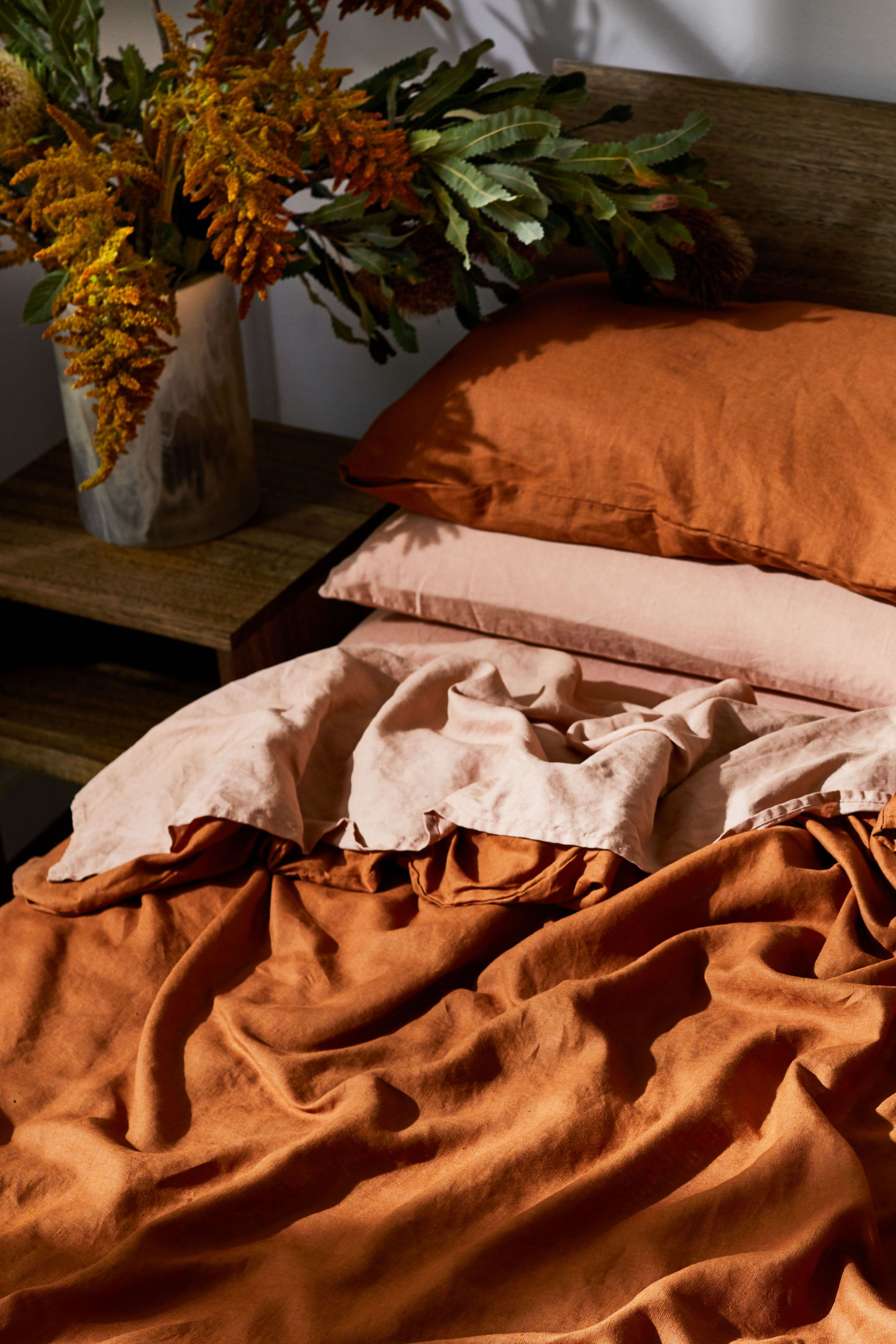 Photo of Rust 100% Flax Linen Bedding Set