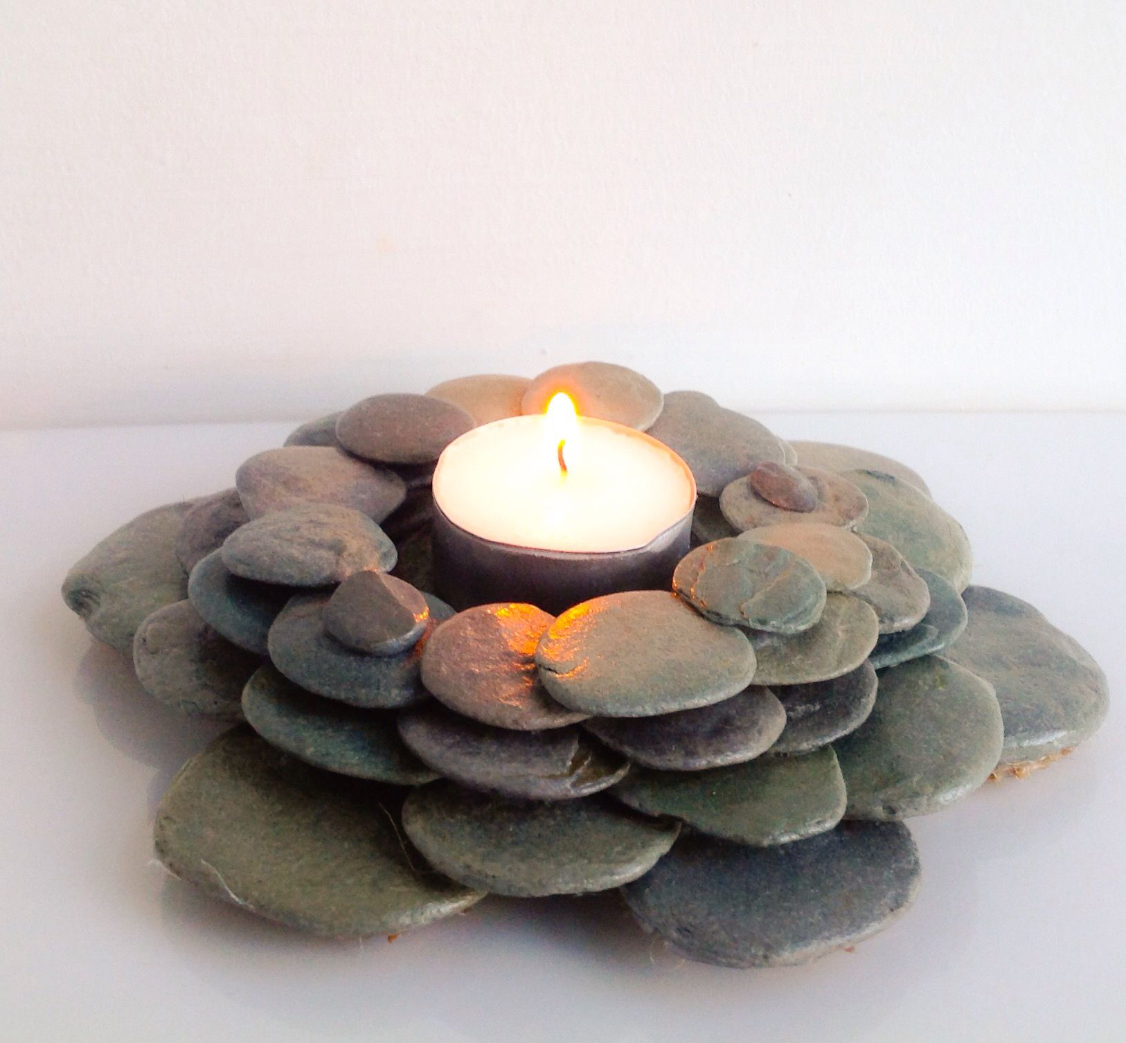 Flat pebbles for crafts - Tealight Holder Made From Beautiful Perfectly Rounded And Flat Grey Blue Pebbles Found
